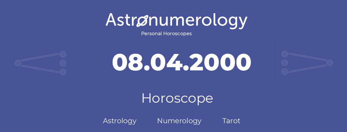 Horoscope for birthday (born day): 08.04.2000 (April 8, 2000)