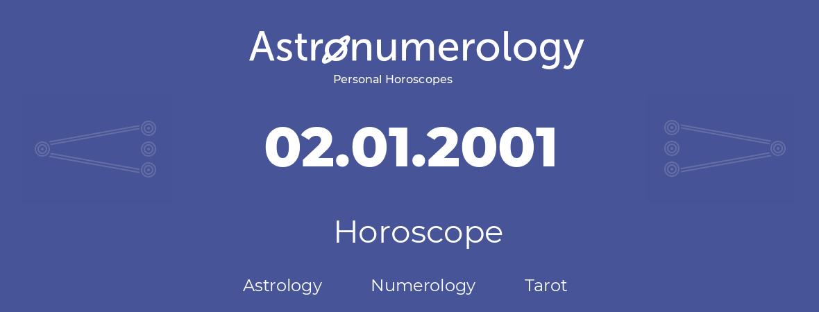 Horoscope for birthday (born day): 02.01.2001 (January 2, 2001)