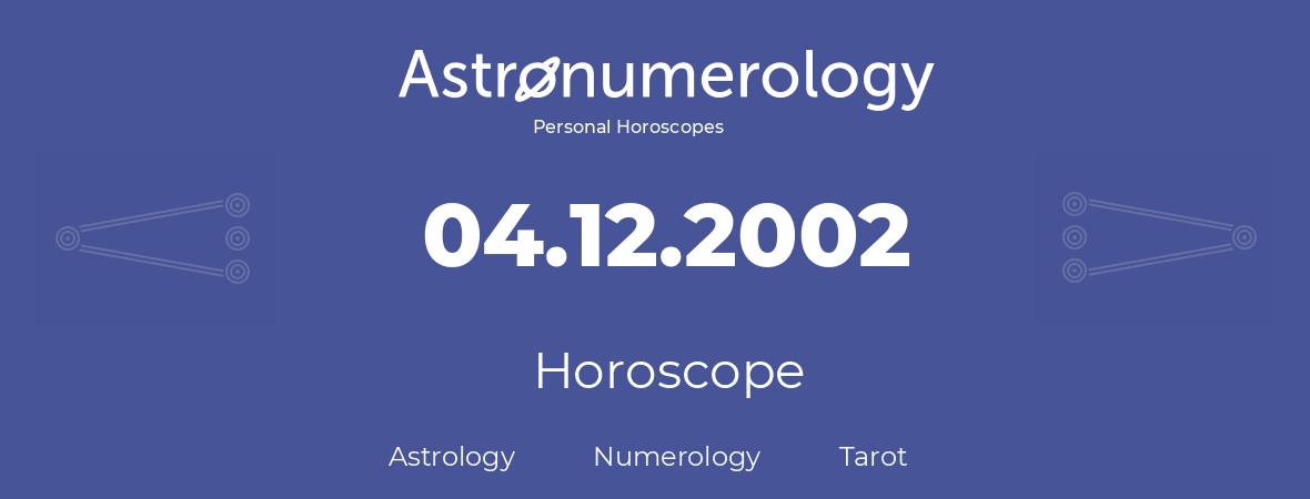 Horoscope for birthday (born day): 04.12.2002 (December 04, 2002)