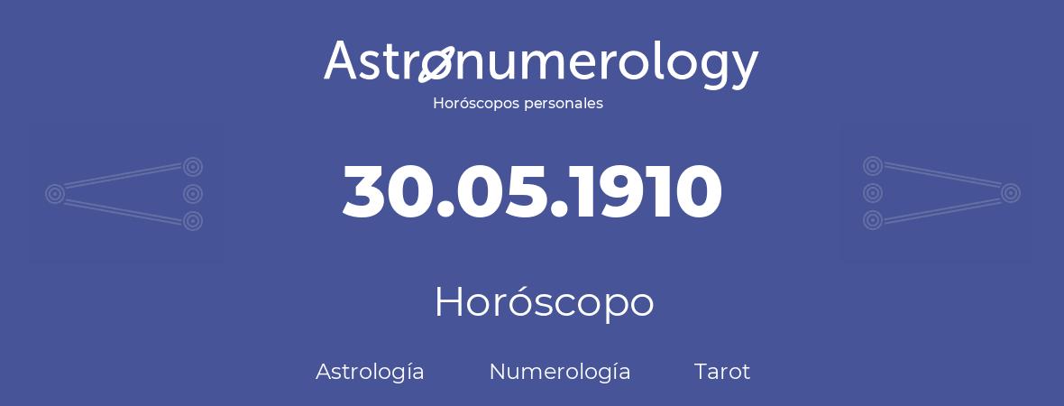 Fecha de nacimiento 30.05.1910 (30 de Mayo de 1910). Horóscopo.