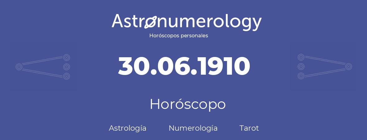 Fecha de nacimiento 30.06.1910 (30 de Junio de 1910). Horóscopo.