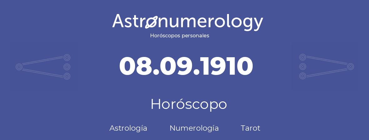 Fecha de nacimiento 08.09.1910 (8 de Septiembre de 1910). Horóscopo.
