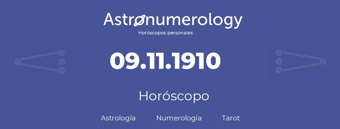 Fecha de nacimiento 09.11.1910 (9 de Noviembre de 1910). Horóscopo.