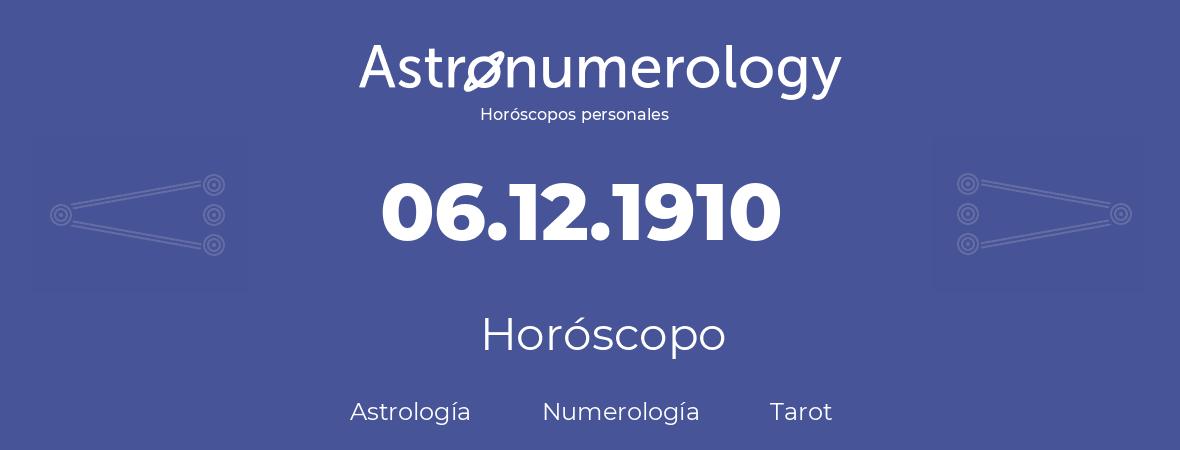 Fecha de nacimiento 06.12.1910 (6 de Diciembre de 1910). Horóscopo.