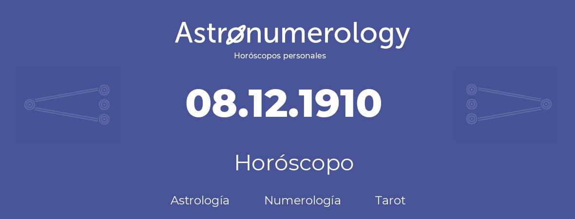 Fecha de nacimiento 08.12.1910 (8 de Diciembre de 1910). Horóscopo.