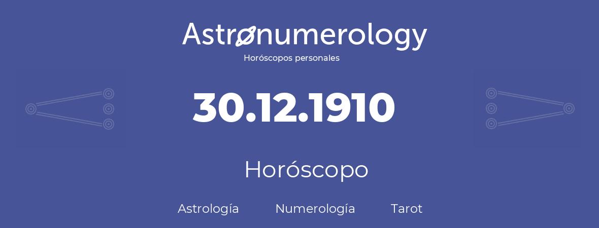 Fecha de nacimiento 30.12.1910 (30 de Diciembre de 1910). Horóscopo.