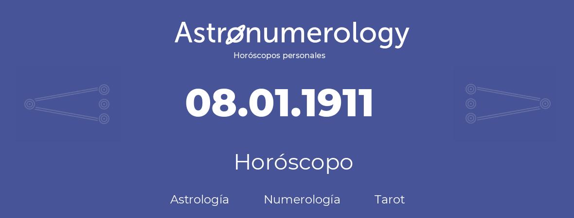 Fecha de nacimiento 08.01.1911 (8 de Enero de 1911). Horóscopo.