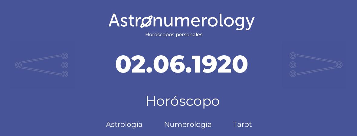 Fecha de nacimiento 02.06.1920 (2 de Junio de 1920). Horóscopo.