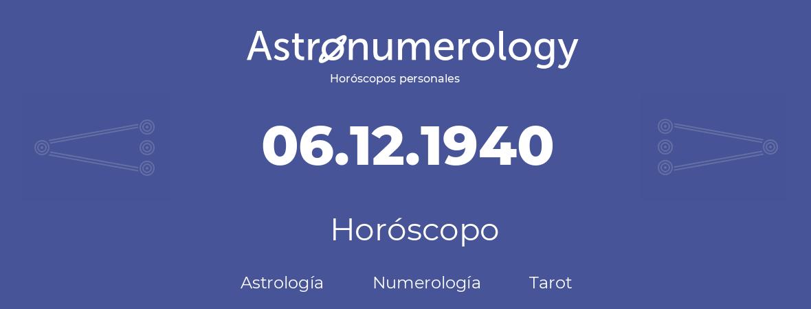 Fecha de nacimiento 06.12.1940 (6 de Diciembre de 1940). Horóscopo.